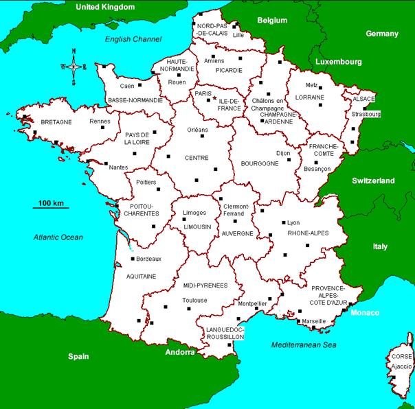 figure 1 france within its administrative borders its regions and prefectures brgm map