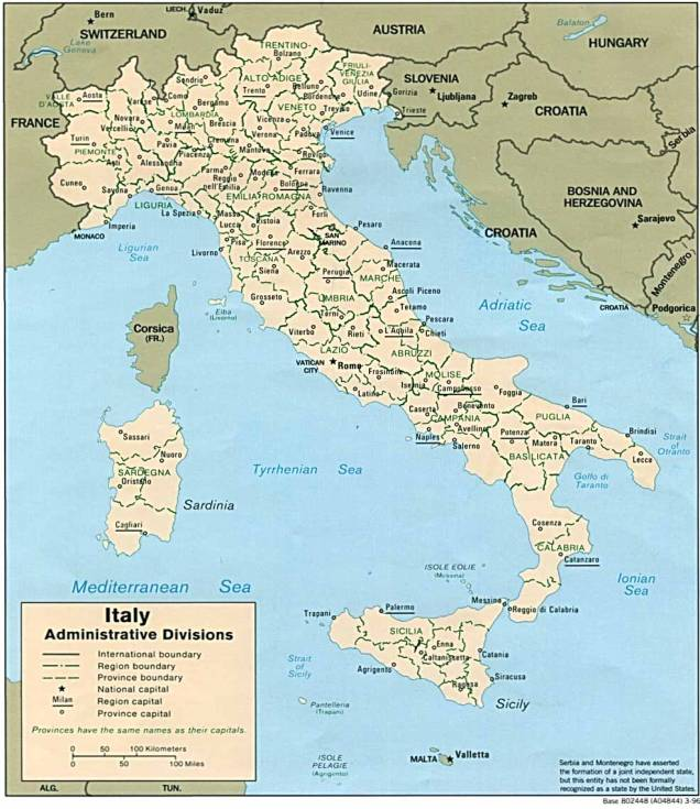 Printable Map Of Italy My Blog - Cities map of italy